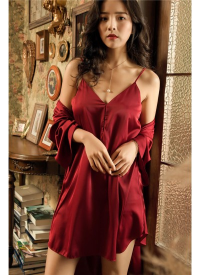 Two-piece Sexy Pyjamas Set comfy Ice Silk Nightgown for spring and autumn