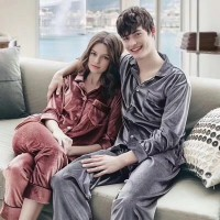 couple pajamas women's velvet long sleeved men's Pajama sets for Autumn and winter