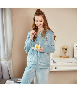 women's Lapel pajamas, cardigan printed comfortable large size home clothes