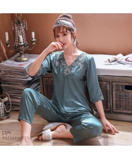 Ice Silk pajamas for middle-aged women in spring a...