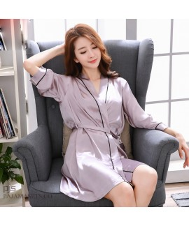 New silk like ladies pajamas and robe sets sexy lo...