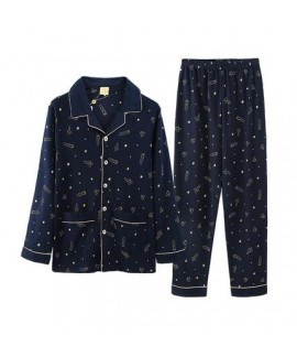 men's long sleeves cotton Pajamas knitted cotton leisure deep blue with space print