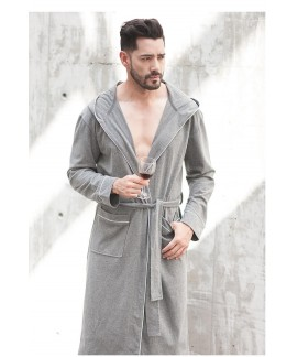 Men's Spring Autumn Cotton Nightgown Grey Long Sle...