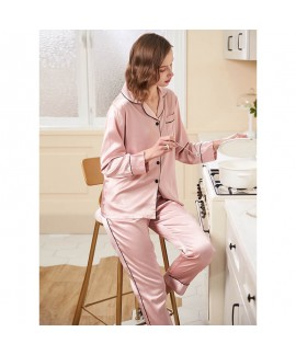 Spring ice Silk Simple Casual  Long Sleeve Loose Size Sleepwear Woman