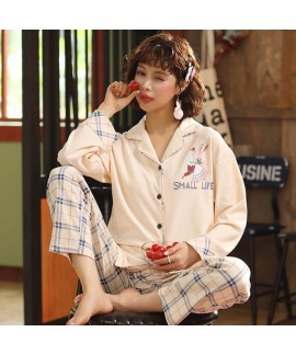 combed cotton trousers sweet pajamas women's cardi...