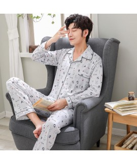 mens cardigan long sleeve Nightgown printed cotton...